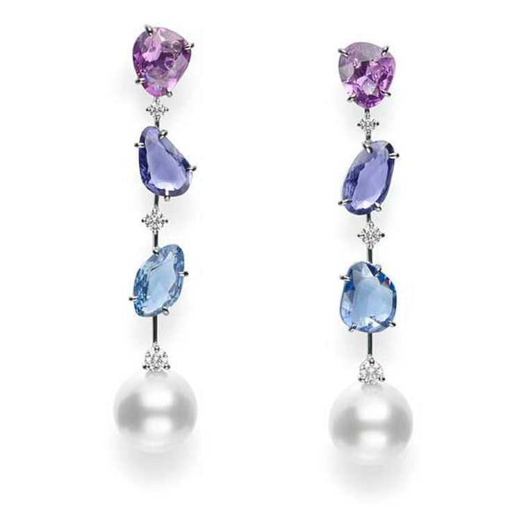 Mikimoto Sunset earrings in white gold with white cultured South Sea pearls and pink, blue and purple sapphires.
