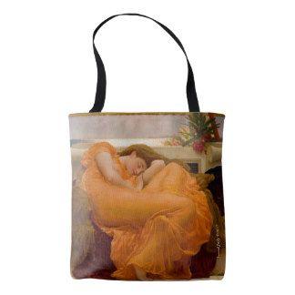 Stunning woman dressed in orange dress tote bag