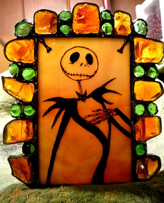 Jack Skellington Stained Glass Hand Painted Candle Holder Halloween