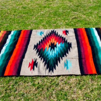 Fringed Blanket Colorful Diamond 82x48 Mexican Rug Turquoise