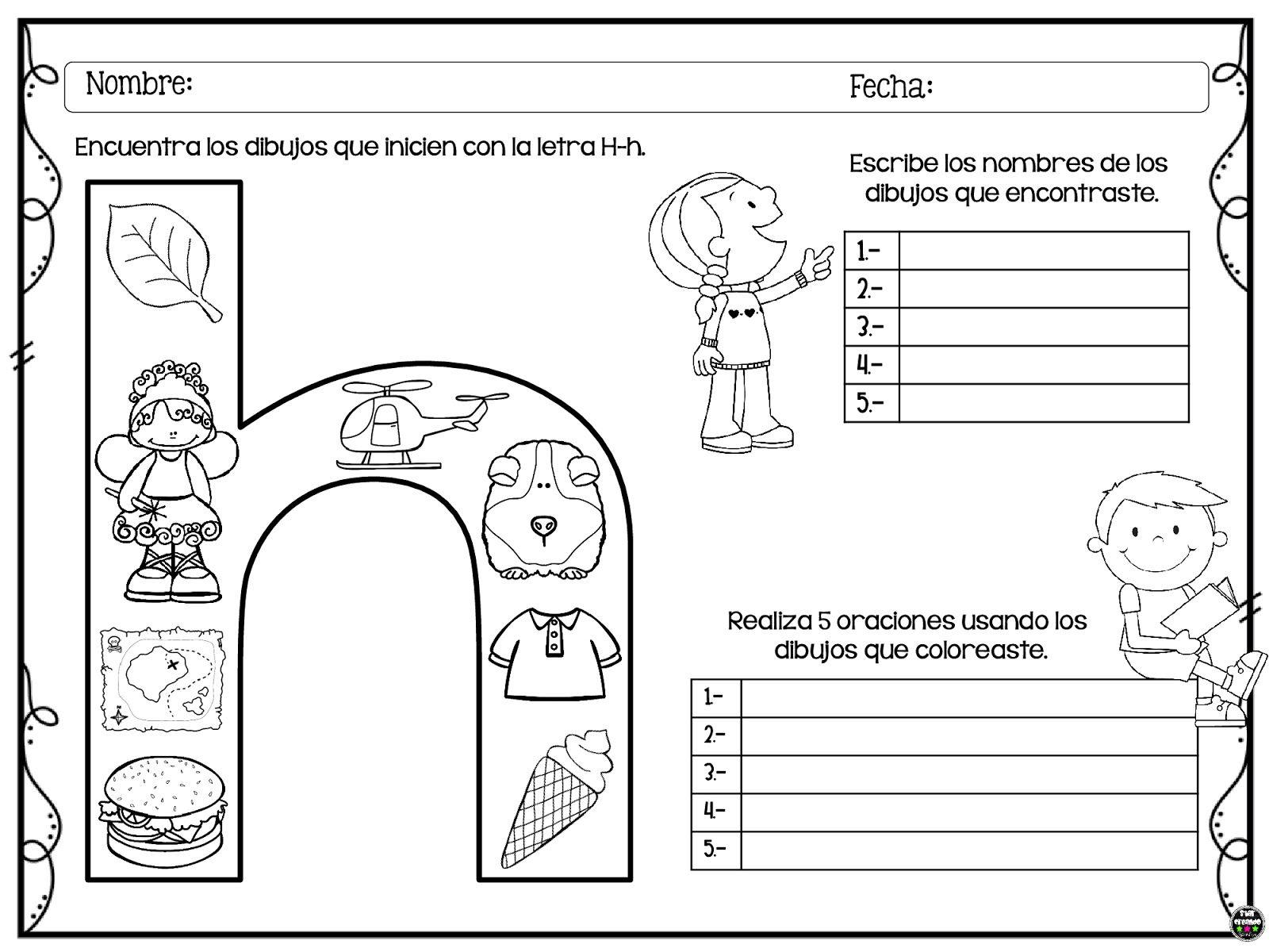 Tareitas Dibujo Con H En 2020 Letras Del Abecedario Actividades De Letras Lectura De Palabras