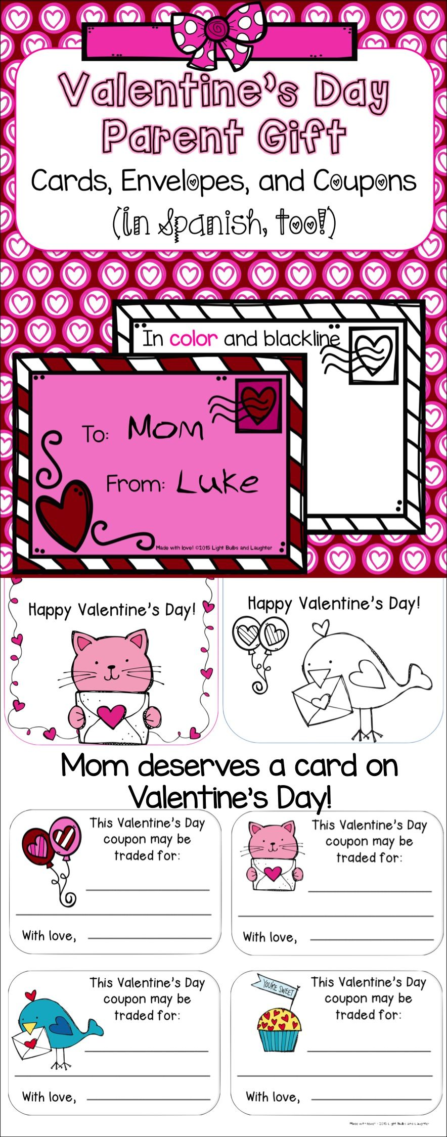 ValentineS Day Parent Gift  Cards Envelopes  Coupons In