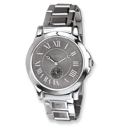 065dadedc34525 IceCarats Mens Chisel Tungsten   Stainless Steel Grey Dial Watch ...