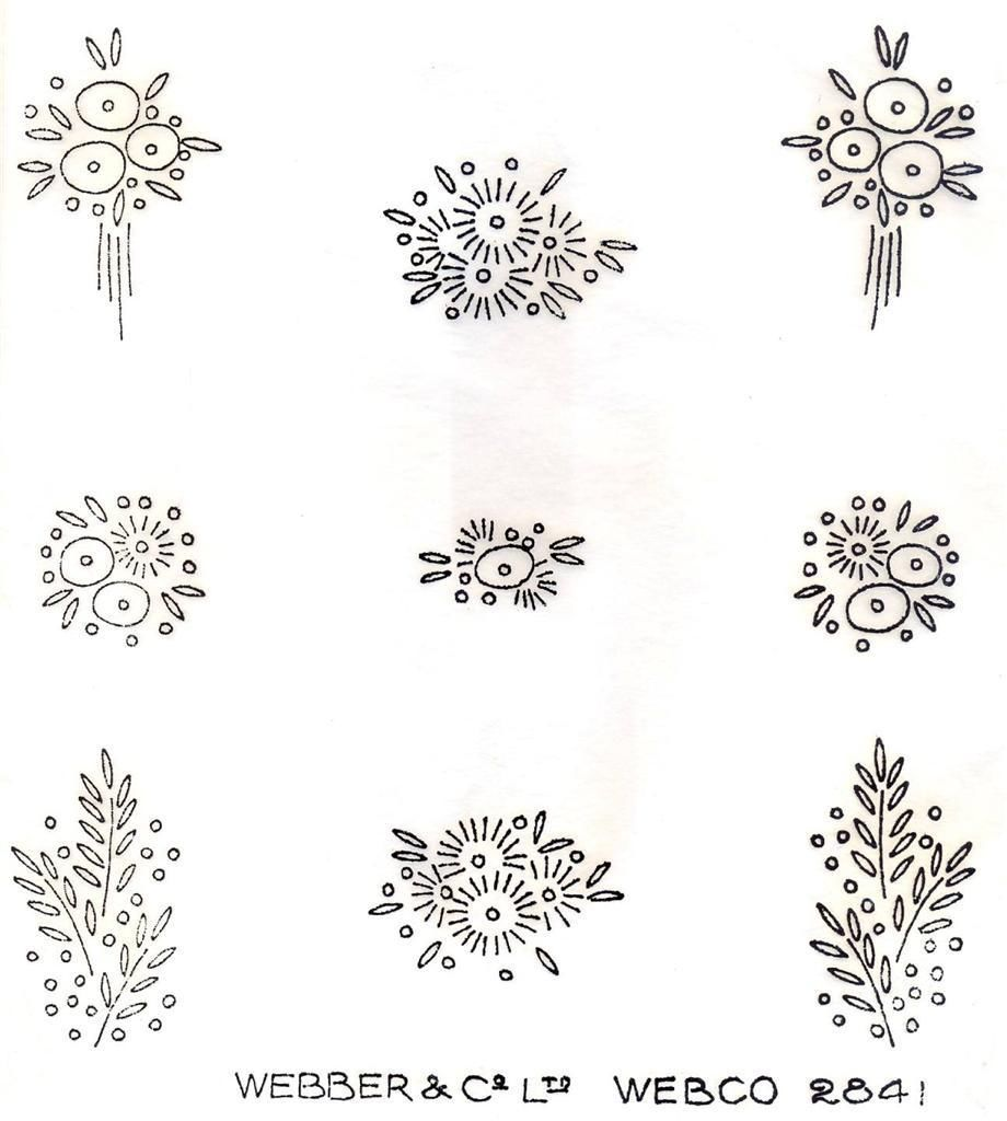S art deco flower sprig designs vintage iron on