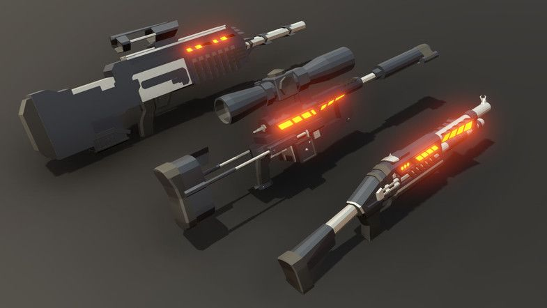 heymesh - Lowpoly Sci Fi Weapon Pack | Awesome Weapon 3D