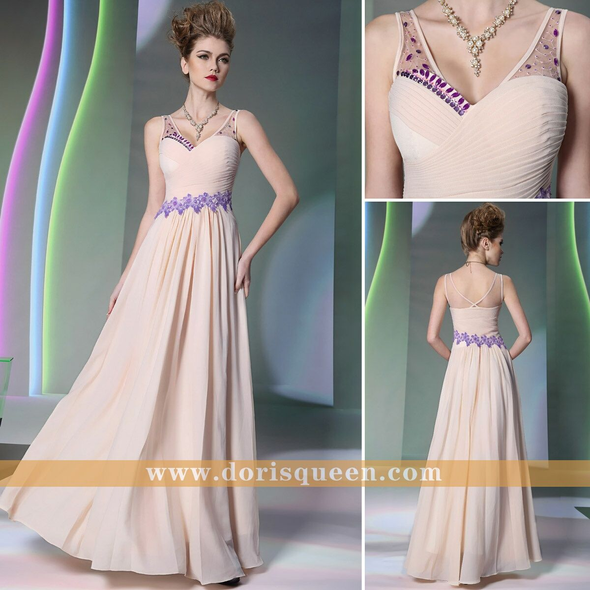 Light pink fashion prom dresses elegant long bridesmaid