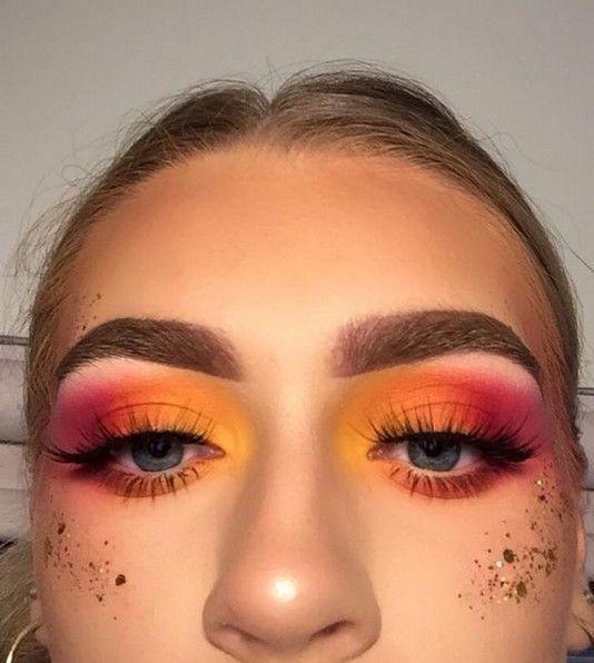 45 atemberaubende Sunset Eyes Make-up-Inspirationsideen Id Für Abschlussball und Hochzeit #makeupprom