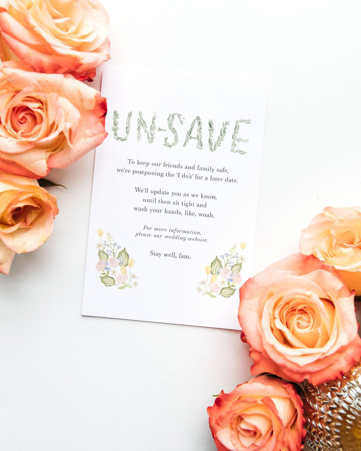 UnSave the Date Diy wedding stationery, Wedding website