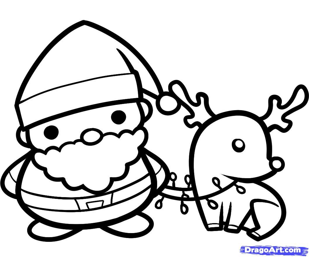 dragoart com how to draw santa and rudolph holidays christmas