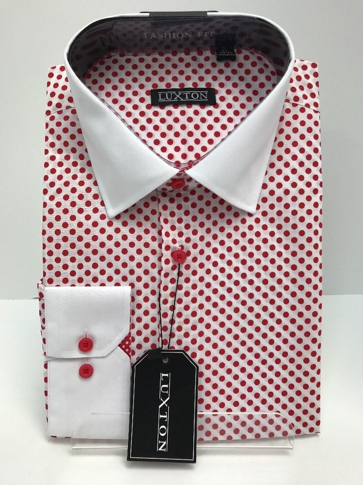 ccb972660ae Men s Luxton Multi-Color White Red Fashion Shirt Red Dots White Collar    Cuffs  Luxton