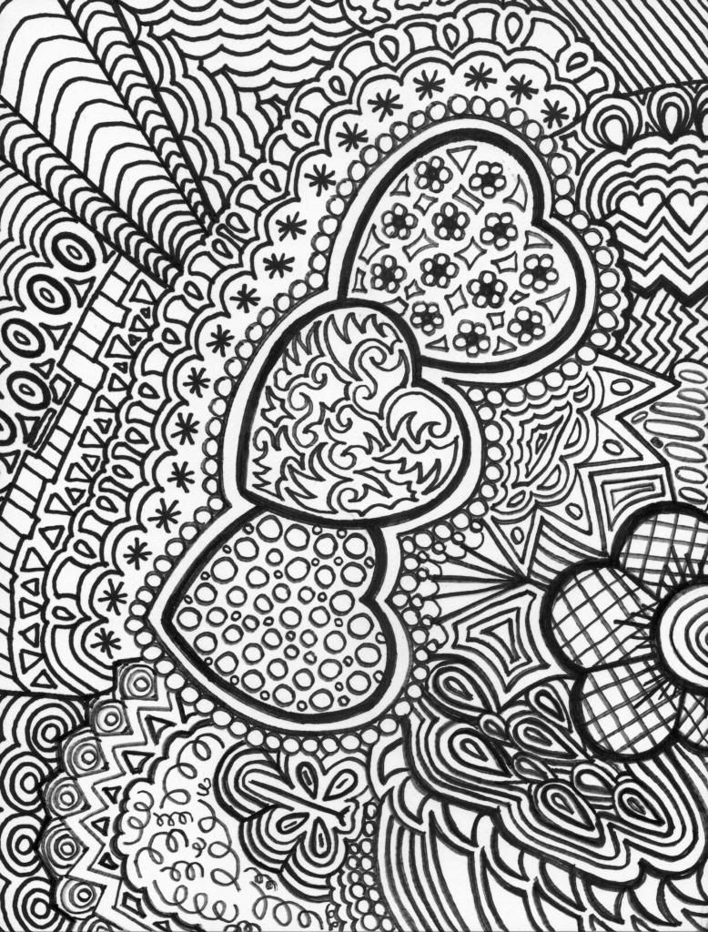 hearts doodle adult colouring page Adult Colouring