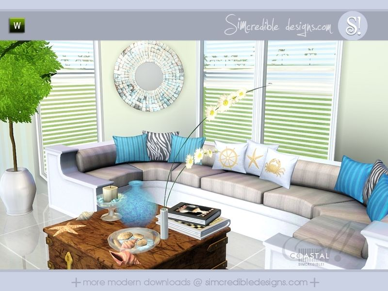 SIMcredible!'s Coastal (With images) | Sims 3 living room ...