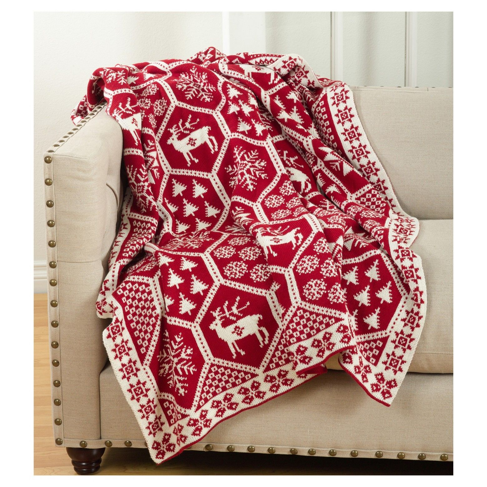 """Red Sevan Christmas Design Knitted Throw Blankets (50""""x60"""