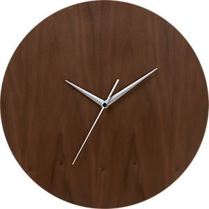 "Walnut 13"" Wall Clock in Clocks   Crate and Barrel $40"