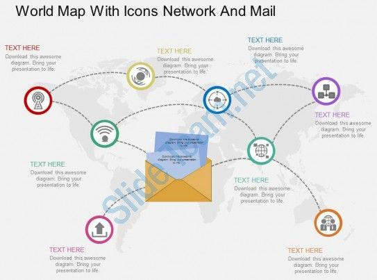 World Map With Icons Network And Mail Ppt Presentation Slides | ppt