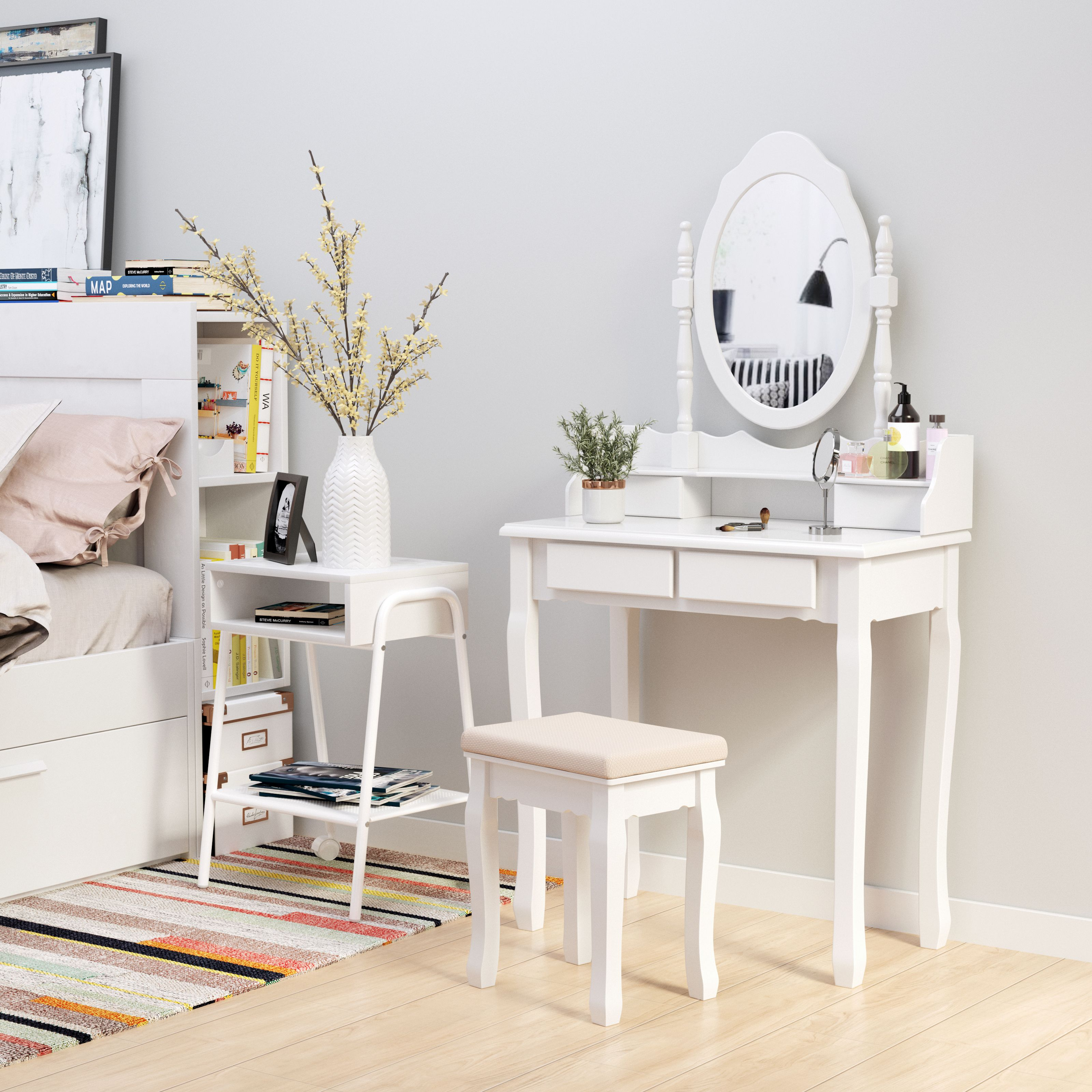 We Present You A High Quality Make Up Tables White At An Unbeatable Low Price Price The Dressing Table Is Made Of High Qualit Schubladen Tisch Schminktisch