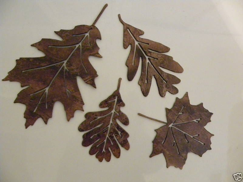 Metal Wall Art Decor Leaf Accents Set Of Made Of High Quality Steel,  Painted Antique Copper, In New Condition, Leaves Measure 1 Leaf- 1 Leaf - 2  leaves