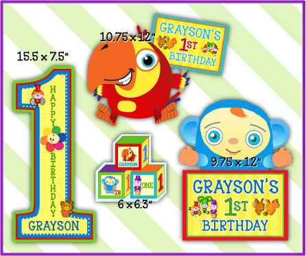 Babyfirst tv personalized cutouts party decorations 4 for 1st birthday party decoration packs