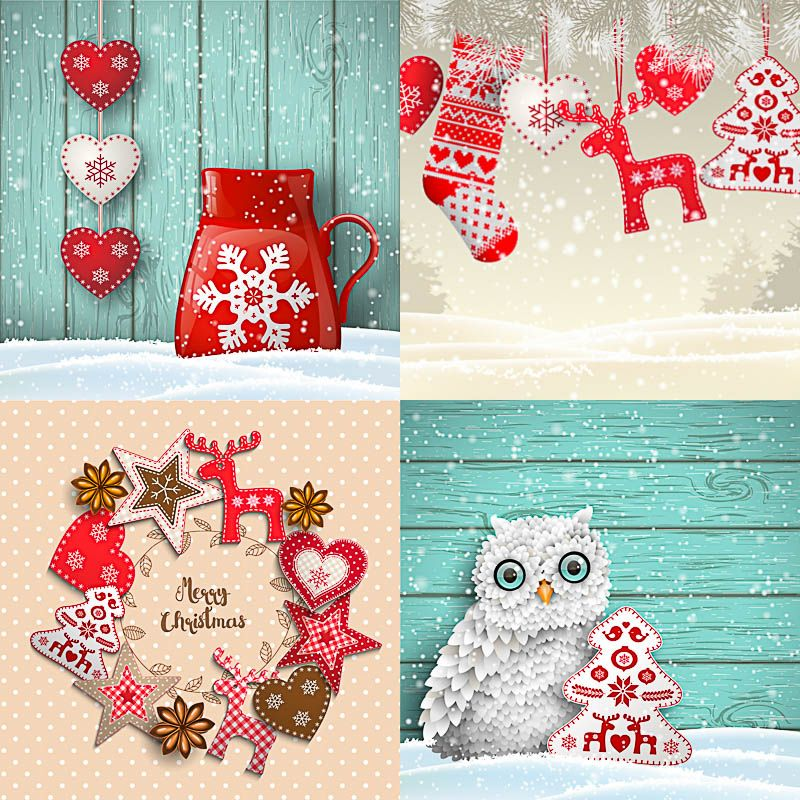 Set Of Vector Cute Christmas Backgrounds For 2017 Years Designs With Tree Reindeer