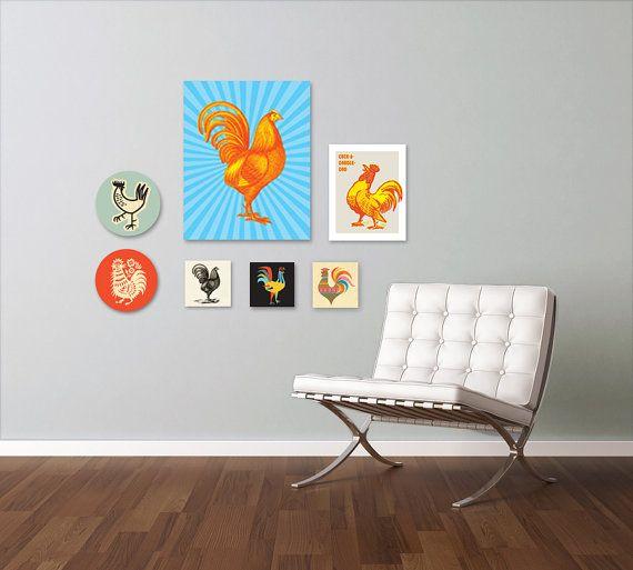 Chicken Art, Rooster Decor, Good Luck, Chicken Print, Rooster Kitchen Decor