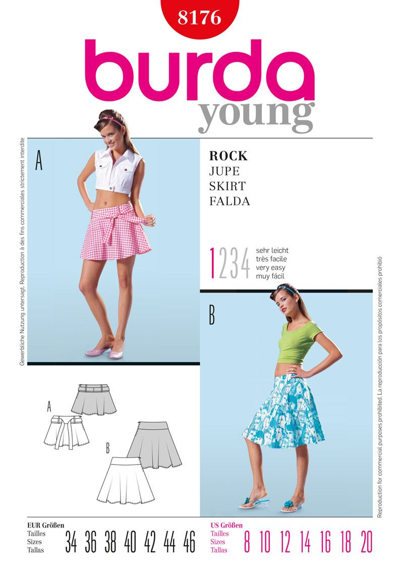 Simplicity Creative Group - Burda Style, Skirt, pattern B8176