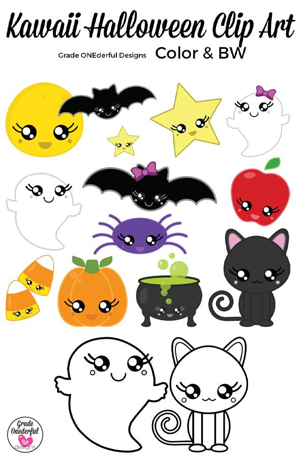 Kawaii Halloween Clipart includes BW CU Okay Kawaii