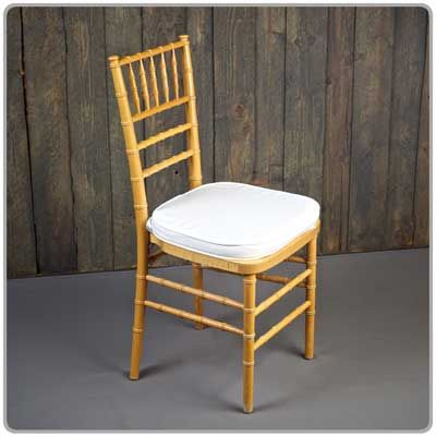 Natural Chiavari Chair    Shown With A Tie On Chair Pad Available In Black