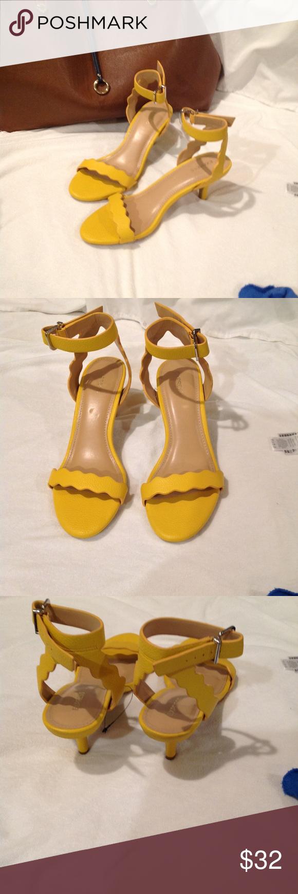 Express Yellow Round Toe Heeled Sandal Size 9 Sandals Heels Kitten Heel Sandals Round Toe Heels