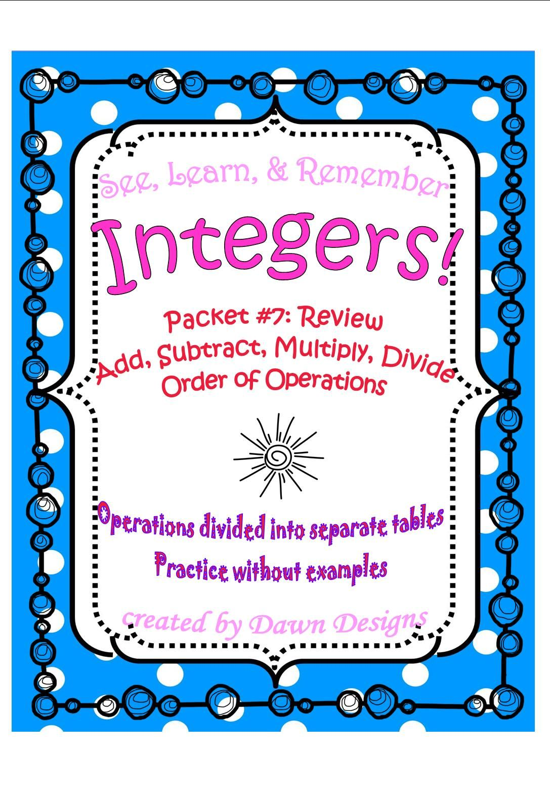 Integer Worksheet Add Subtract Multiply Divide Order