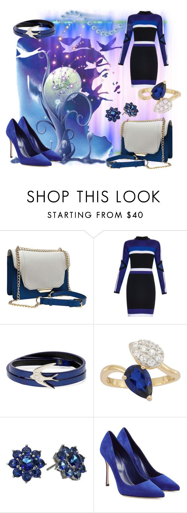 """""""Blue and White"""" by bonnieemme ❤ liked on Polyvore featuring Versace, McQ by Alexander McQueen, Nina and Sergio Rossi"""