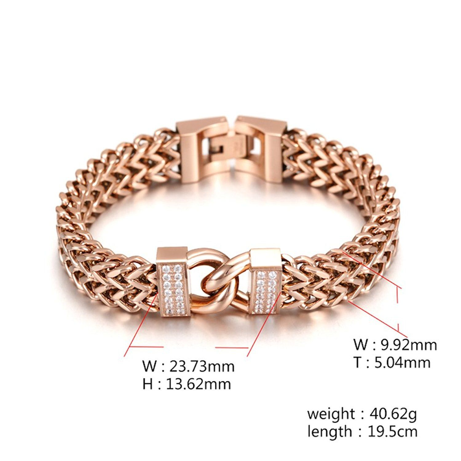 K rose gold plated double chain link maille bangle bracelet with