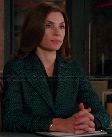 Alicia's green tweed blazer on The Good Wife.  Outfit Details: https://wornontv.net/38242/ #TheGoodWife