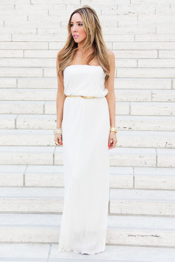 Gold Strapless Long Summer Dresses