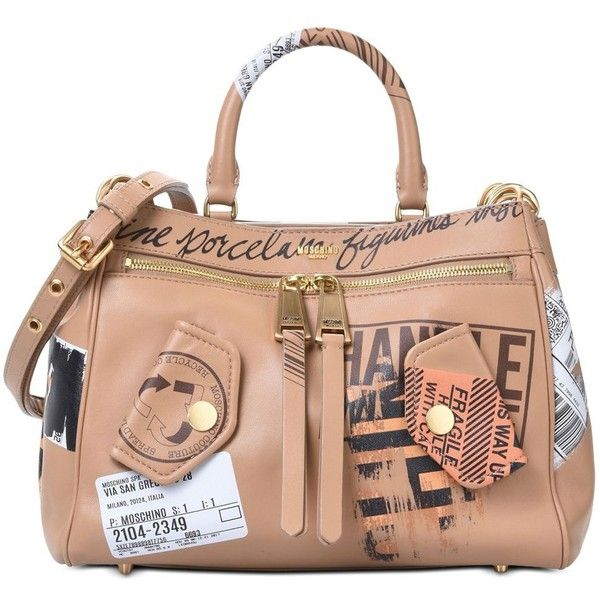 Moschino Handbag (2.690.050 COP) ❤ liked on Polyvore featuring bags, handbags, purses, light brown, moschino, handle bag, studded bag, moschino bags and handbag purse