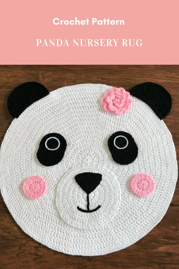 Crochet Rug Pattern - Panda Bear Nursery Rug Pattern - #crochet - by ...