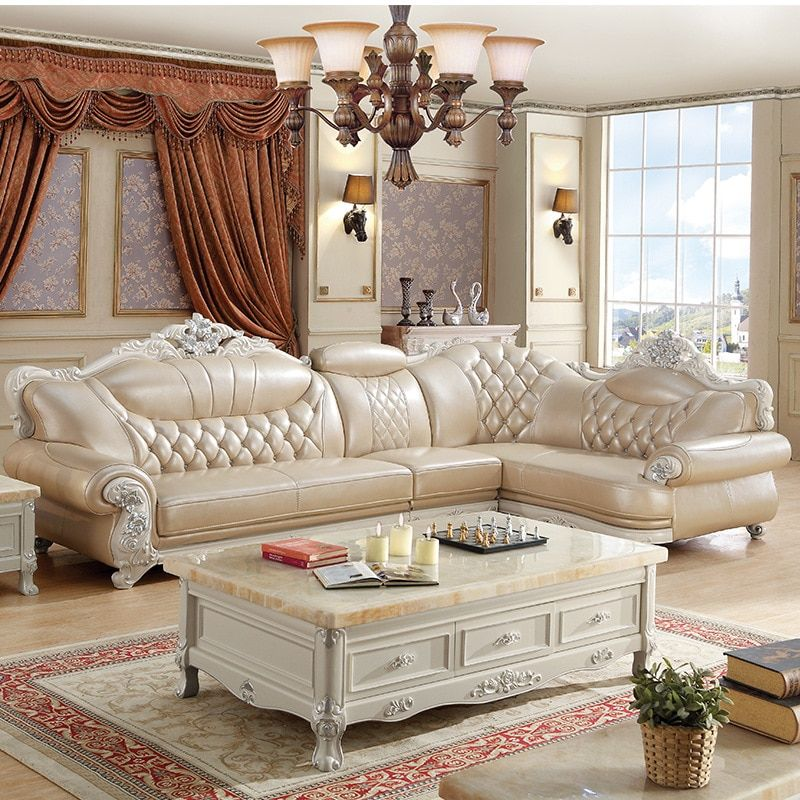 Direct Selling Living Room Furniture Leather L Shape Sofa Set