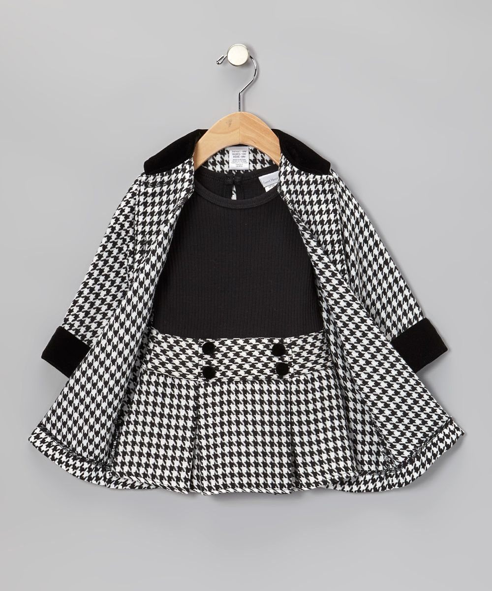 Black Houndstooth Dress & Coat - Toddler & Girls | Daily deals for ...