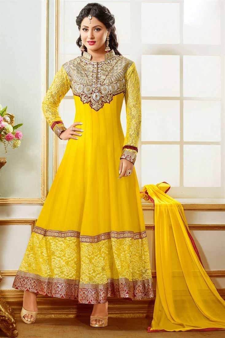 4ae9c3c4d8 Hina Khan Yellow Color Anarkali Salwar Suit | Celebrity Inspired ...