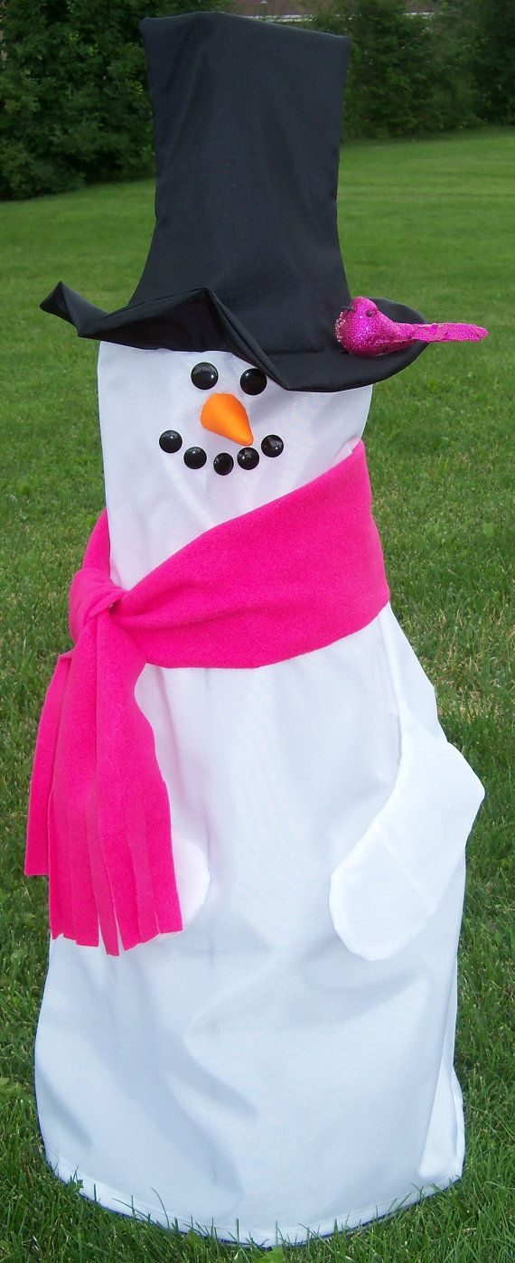 Snowman with Pink Scarf & Bird on Hat Outdoor by ShopWhimsicalB, $29.99