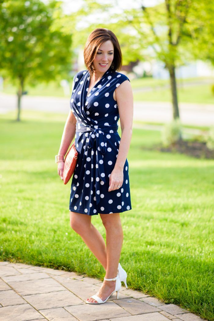 56fe1c9f037 Jo-Lynne Shane wearing a polka dot wrap dress and the most comfortable  summer dress sandals!   in partnership with  nordstrom