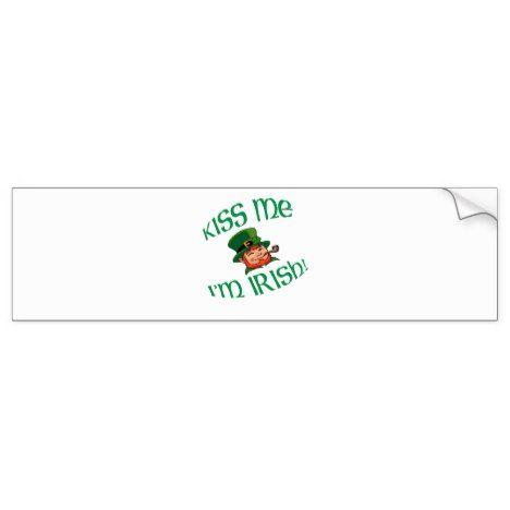 Kiss me im irish bumper sticker stpatricksday bumper stickers