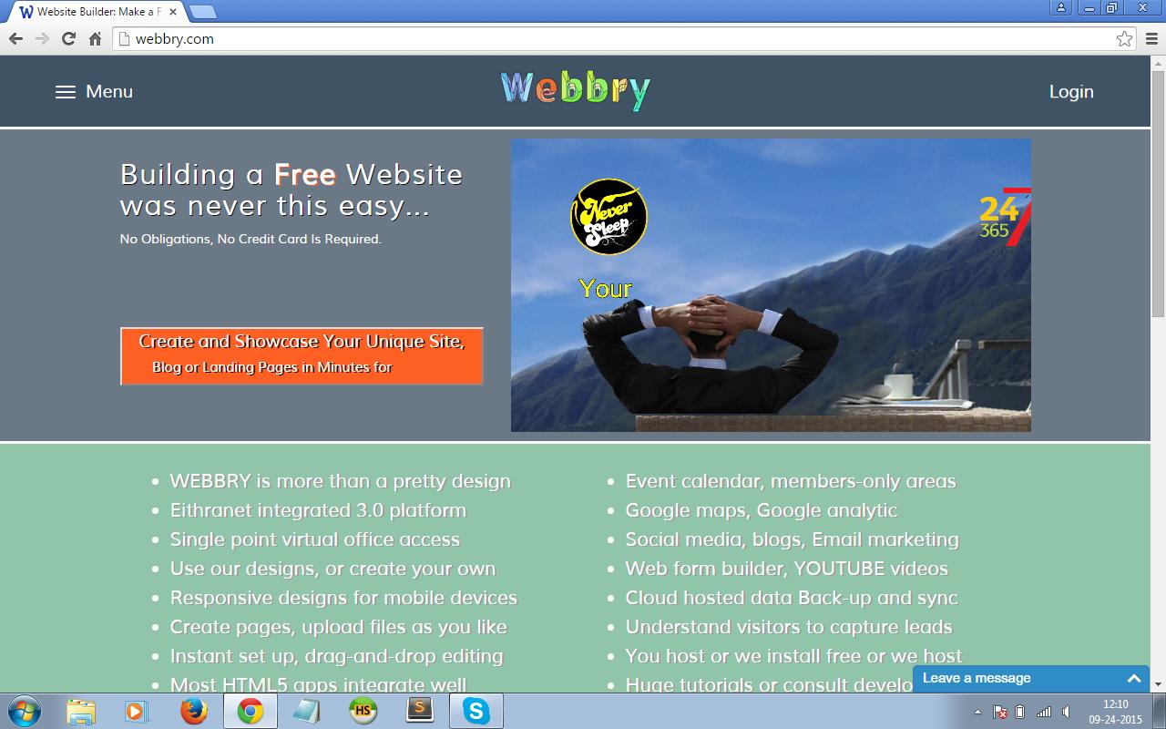 create professional website free