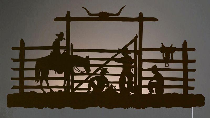 Cowboy Corral Back Lit Wall Art Rust Western Metal Wall Art