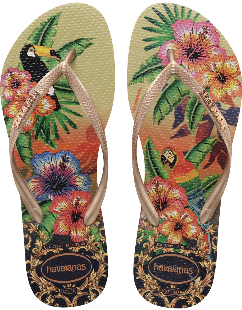 3fe136bf37ac Havaianas Slim Tropical Flip Flops - Sand Grey Rose More