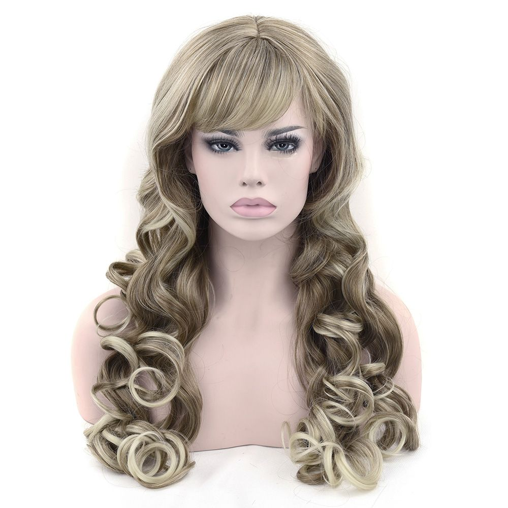 Soowee Synthetic Hair Long Wavy Brown Mixed Blonde Color Cosplay Wigs Party  Hair Wig Headwear Hair Accessories for Women ac3d9f7d77