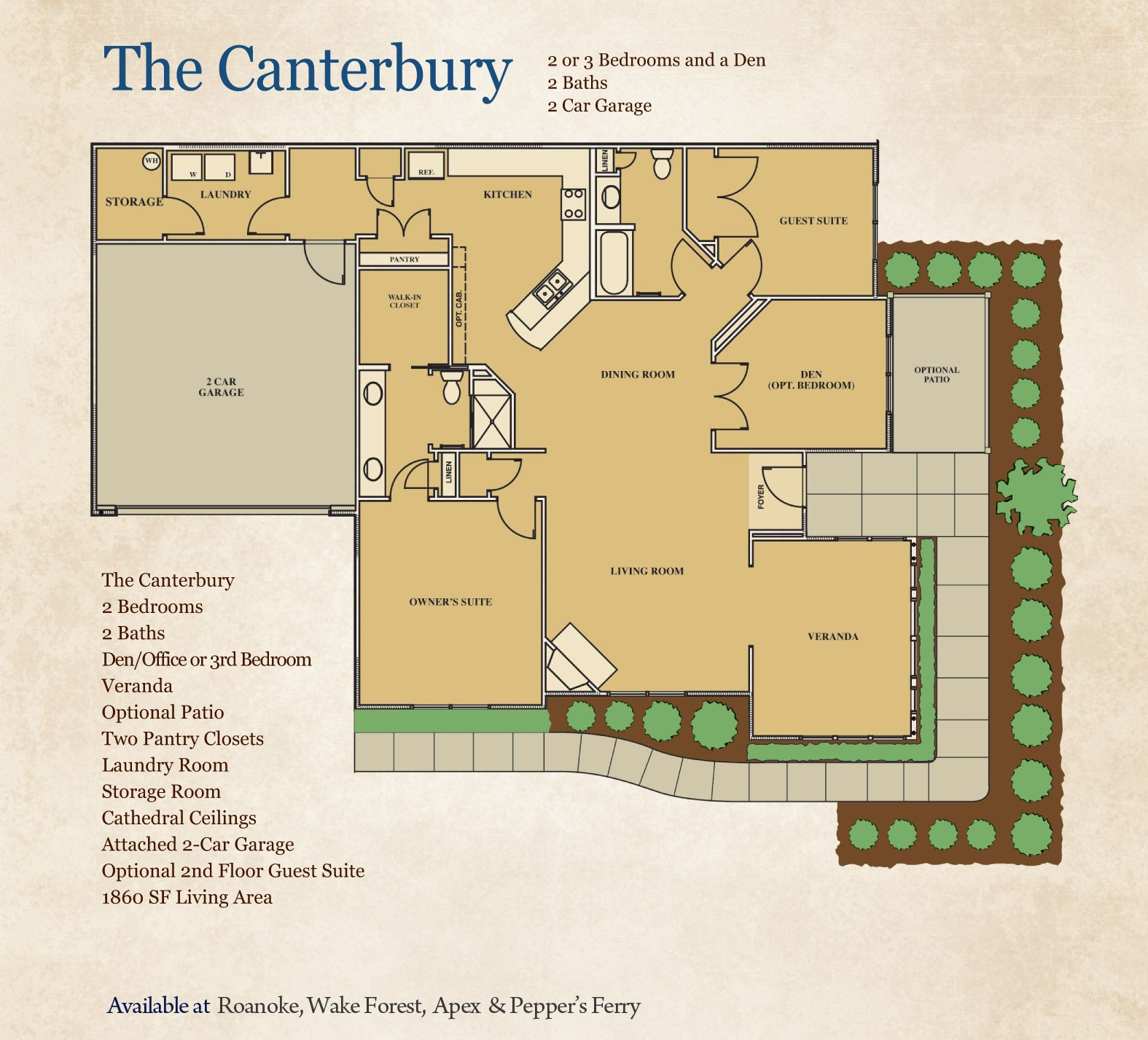 The Canterbury Cornerstone Homes 2 Bedrooms 2 Baths Luxurious Master Suite With Walk In Closet Cathedral Ceiling New Homes Energy Efficient Appliances
