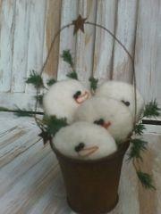 Snowmen in Rust Pail Pattern