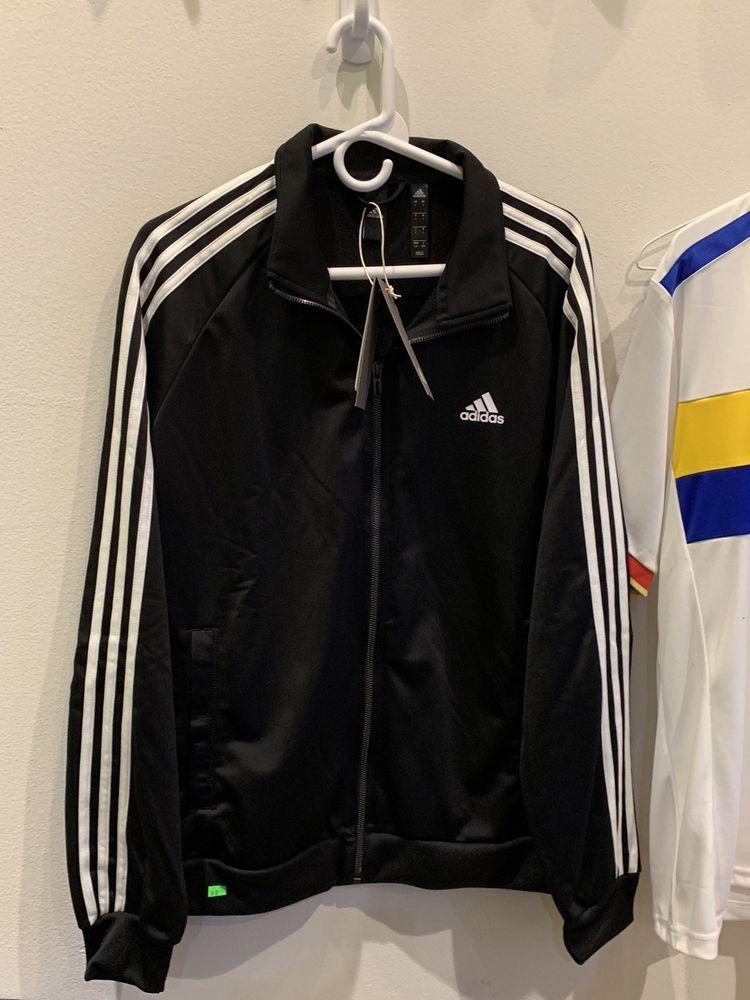 Blue Mens ADIDAS Essentials 3 Stripe Tricot Track Jacket