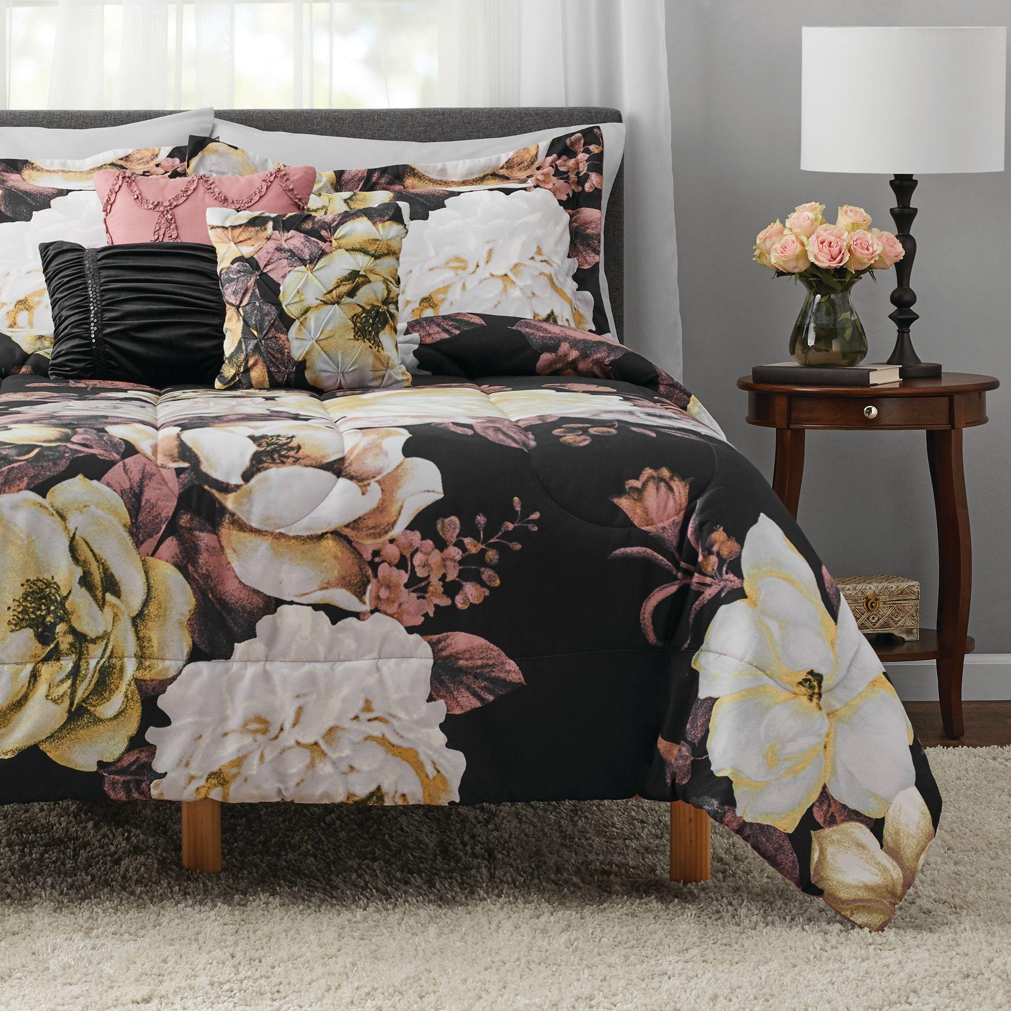 Mainstays Black Floral 8 Piece Bed In A Bag Set With Sheets Queen Walmart Com Floral Bedroom Black Bed Set Bedding Set
