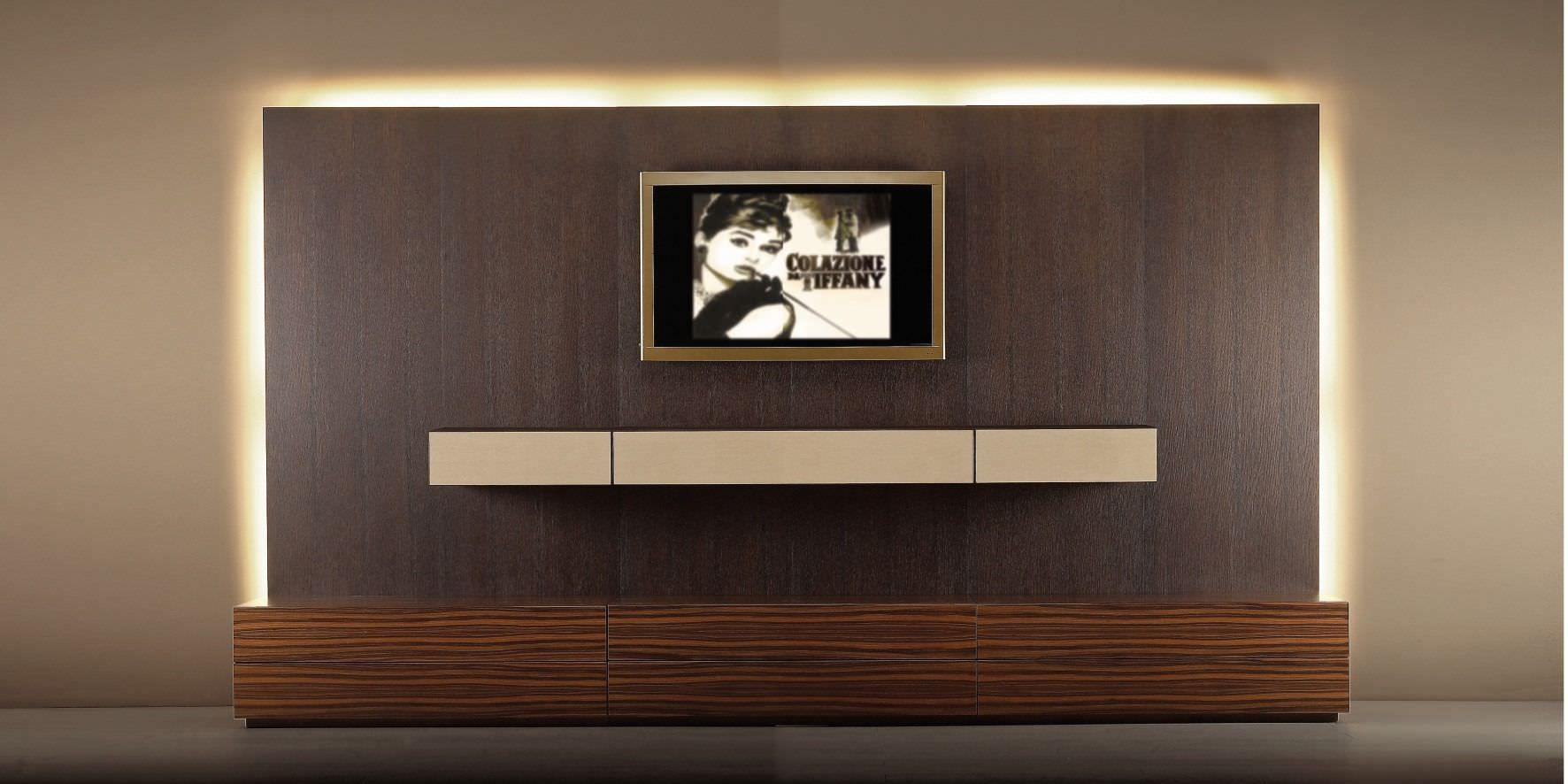 Contemporary tv wall unit wood with wooden cabinet for In wall tv cabinet